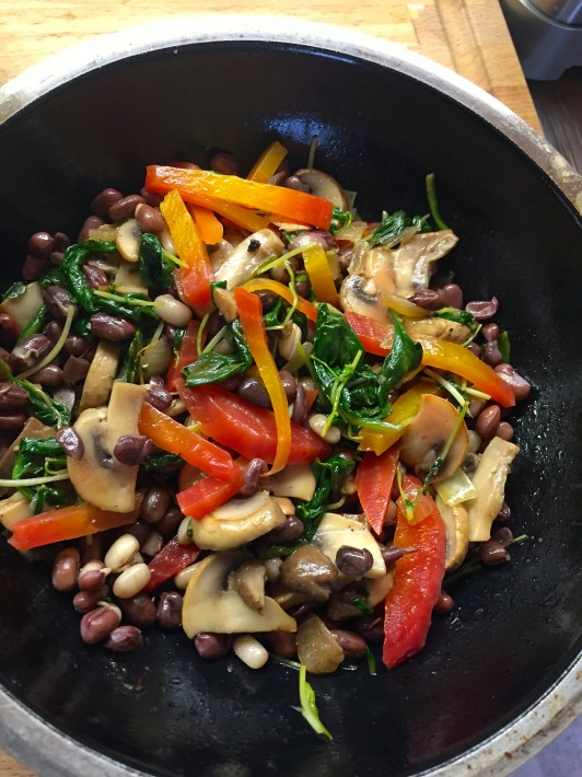 Bio Bud Adzuki Beans with golden beets, sweet pea sprouts and spinach