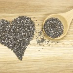 heart symbol made of black chia seeds and spoon